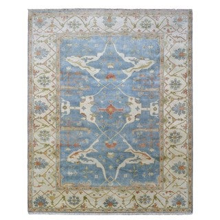 FineRugCollection Hand-knotted Oushak Blue Wool Oriental Rug (8'1 x 9'9)
