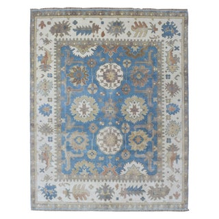 FineRugCollection Hand Knotted Oushak Blue Wool Oriental Rug (7'8 x 9'7)