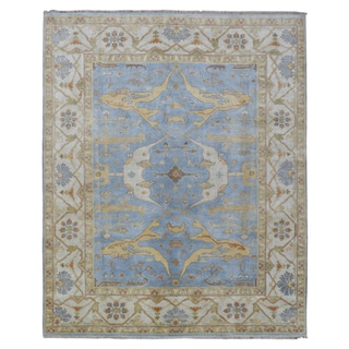 FineRugCollection Hand Knotted Oushak Blue Wool Oriental Rug (8'2 x 10')