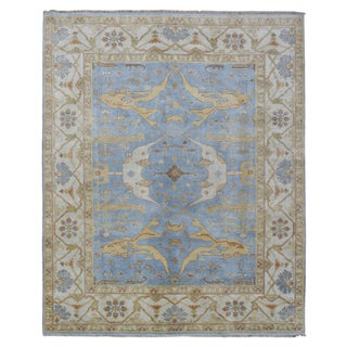 FineRugCollection Hand-knotted Oushak Blue Wool Oriental Rug (8'2 x 10')