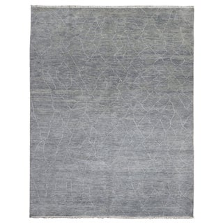 FineRugCollection Hand Knotted Fine Oushak Turkish Knot Blue-Grey Wool Oriental Rug (8' x 10'1)