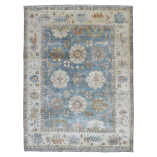 FineRugCollection Hand Knotted Oushak Blue Wool Oriental Rug (7'10 x 10'2)