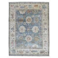 FineRugCollection Hand-knotted Oushak Blue Wool Oriental Rug (7'10 x 10'2)