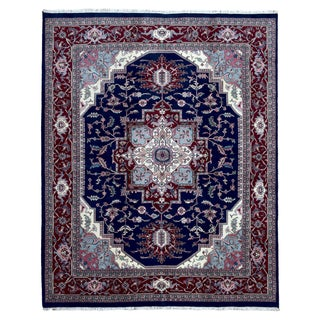 FineRugCollection Hand Knotted Serapi Navy Wool Oriental Rug (7'10 x 9'9)