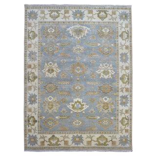 Fine Rug Collection Hand-knotted Oushak Blue Wool Oriental Rug (8'2 x 10'8)