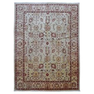 Fine Rug Collection Hand-knotted Peshawar Beige Wool Oriental Rug (9' x 12')
