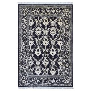 FineRugCollection Handmade Fine Modern Black Wool Oriental Rug (6' x 9')