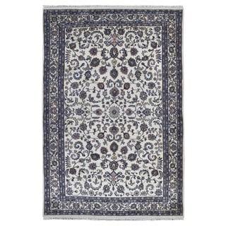 FineRugCollection Hand Made Kashan Beige Wool Oriental Rug (6'4 x 9'3)