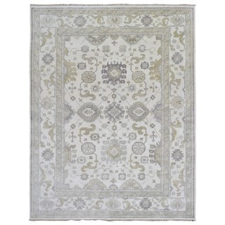 Fine Rug Collection Hand-knotted Oushak Beige Wool Oriental Rug (9'1 x 11'10)