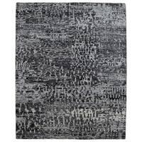 FineRugCollection Handmade Modern Black Sari Silk Oriental Rug
