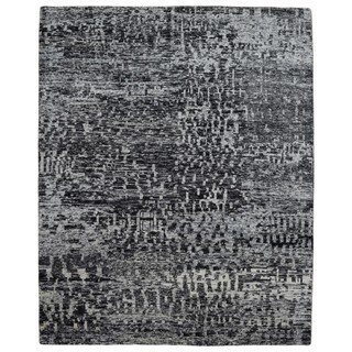 FineRugCollection Handmade Modern Black Sari Silk Oriental Rug (8' x 9'10)