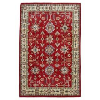 FineRugCollection Hand Made Kazak Red Wool Oriental Rug (6'1 x 9'1)