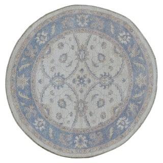 FineRugCollection Handmade Fine Peshawar Beige Wool Oriental Round Rug (4'X4')