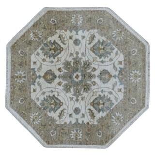 FineRugCollection Handmade Fine Peshawar Beige Oriental Octagon Rug (4' x 4')