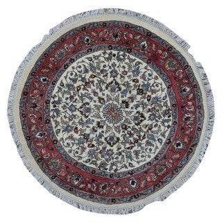 FineRugCollection Hand Made Kashan Beige Wool Oriental Rug (4'1 x 4'1)
