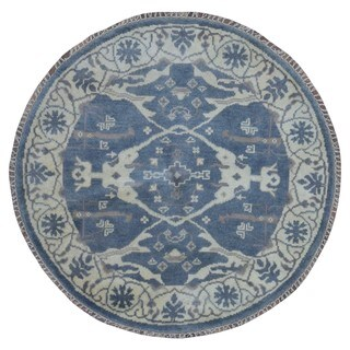 FineRugCollection Handmade Oushak Blue Wool Oriental Round Rug (4'1 x 4'1)