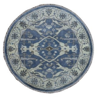 FineRugCollection Hand Made Oushak Blue Wool Oriental Rug (4'1 x 4'1)