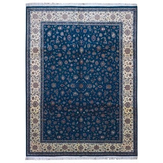 Fine Rug Collection Handmade Fine Tabriz Green-Blue Wool Oriental Rug (9' x 12')