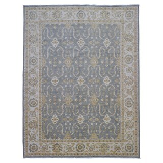 Fine Rug Collection Handmade Fine Peshawar Grey Wool Oriental Rug (9' x 11'8)