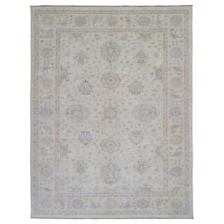 Fine Rug Collection Handmade Fine Peshawar Beige Wool Oriental Rug (9' x 11'8)