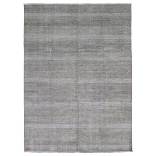 Fine Rug Collection Handmade Fine Modern Black and White Wool and Silk Oriental Rug (8'10 x 12'1)