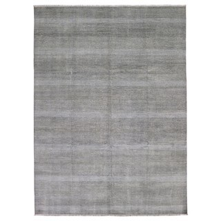 FineRugCollection Handmade Fine Modern Black and White Wool and Silk Oriental Rug (8'10 x 12'1)