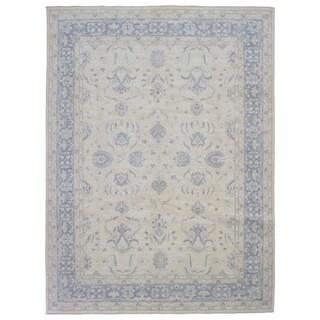Fine Rug Collection Handmade Fine Peshawar Beige Wool Oriental Rug (9'1 x 12'1)