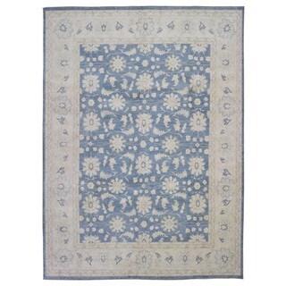 Fine Rug Collection Handmade Fine Peshawar Blue Wool Oriental Rug (9'1 x 12'1)