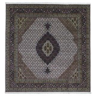 FineRugCollection Handmade Fine Mahi Tabriz Black Wool and Silk Oriental Rug - 7'10 x 8'1