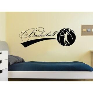 Basketball Sport Game Woman Ball Emblem Gym Interior Design Home Sticker Decall size 44x60 Color Bla