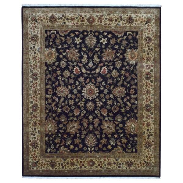 Finerugcollection Handmade Fine Tabriz Black Wool Oriental Rug 8 X27