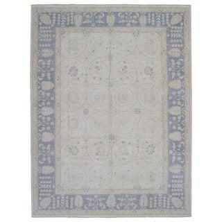 Fine Rug Collection Handmade Fine Peshawar Beige Wool Oriental Rug (8'10 x 11'8)