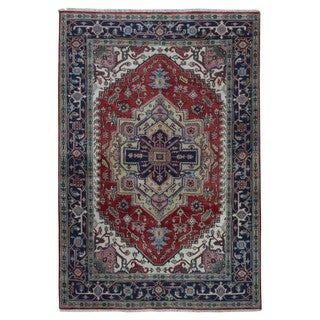 FineRugCollection Hand Made Serapi Beige Wool Oriental Rug (6' x 9')