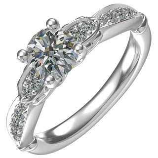 Classic Sterling Stilver 1-carat Cubic Zirconia Round Center with 0.27-carat Side Engagement Ring
