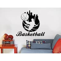 Basketball Player Sport Game Boy Room People Home Kids Nursery Baby Room Bedroom Sticker Decall size 44x52 Color Black