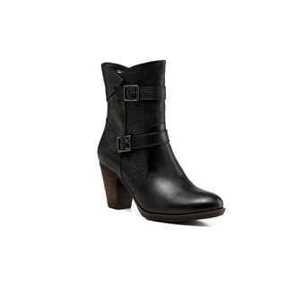 Zoey Chunky Heel Ankle Women Leather Boots