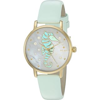 Kate Spade Women's KSW1102 'Metro' Pony Seahorse Green Leather Watch
