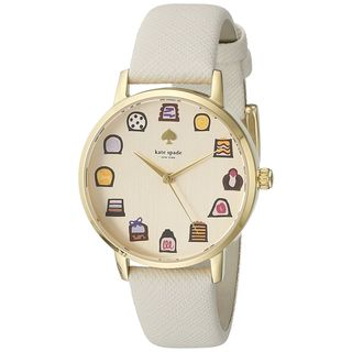 Kate Spade Women's 1YRU0894 'Metro' Chocolates White Leather Watch