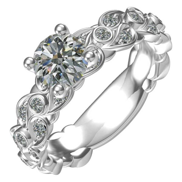 569fe46bf Sterling Silver Cubic Zirconia Classic Paisley Engagement Ring (Size 6)