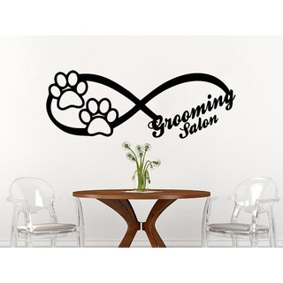 Infinity Sign Dog Wall Decal Animals Petshop Grooming Salon Sticker Decal size 48x65 Color Black