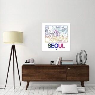 NAXART Studio 'Seoul Watercolor Street Map' Canvas Wall Art