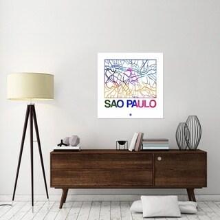 NAXART Studio 'Sao Paulo Watercolor Street Map' Stretched Canvas Wall Art