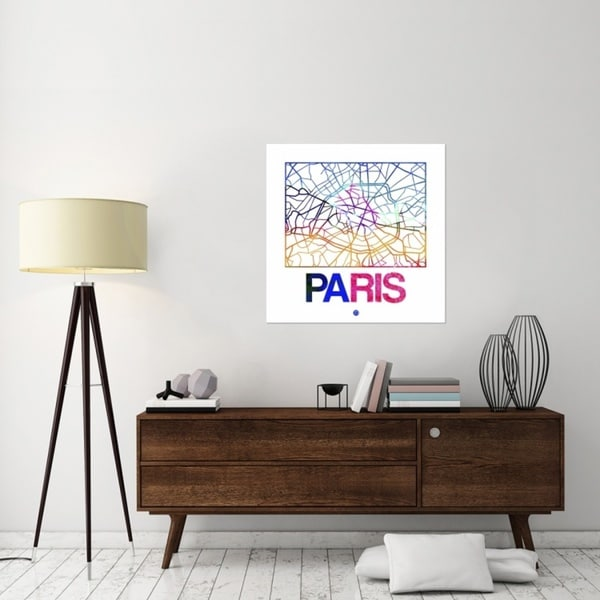 Naxart Studio 'Paris Watercolor Street Map' Canvas Stretched Wall Art