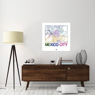 Naxart Studio 'Mexico City Watercolor Street Map' Stretched Canvas Wall Art