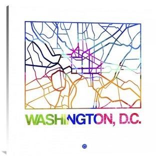 Naxart Studio 'Washington D.C. Watercolor Street Map' Canvas Stretched Wall Art
