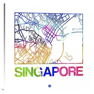 NAXART Studio 'Singapore Watercolor Street Map' Stretched Canvas Wall Art