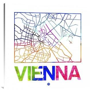 NAXART Studio 'Vienna Watercolor Street Map' Stretched Canvas Wall Art