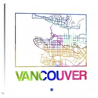 Naxart Studio 'Vancouver Watercolor Street Map' Canvas Stretched Wall Art