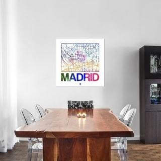 Naxart Studio 'Madrid Watercolor Street Map' Stretched Canvas Wall Art