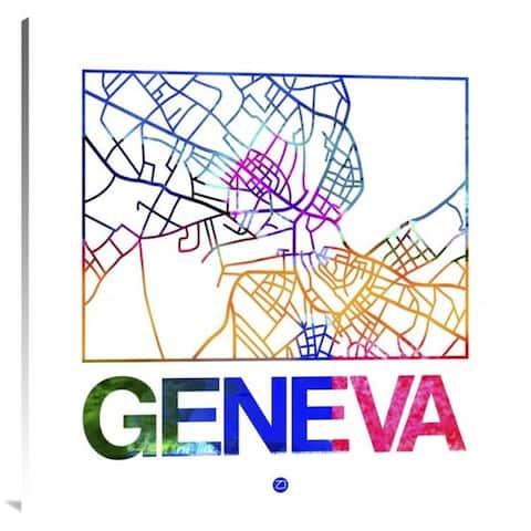 Naxart Studio 'Geneva Watercolor Street Map' Canvas Stretched Wall Art